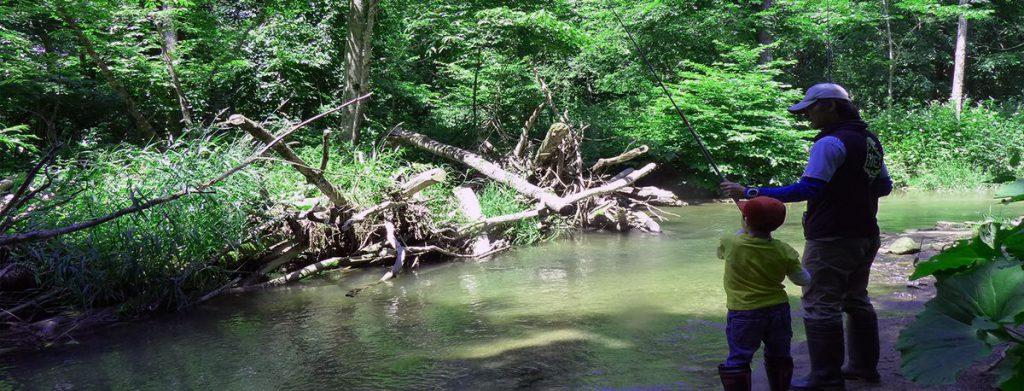 布礼別川で釣り体験